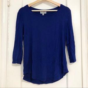 JM Collection royal blue 3/4 sleeve top petite M